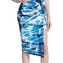 Nwt Young Fabulous & Broke Szm Kulani Jersey Asymmetrical Hem Skirt Blue Multi Photo