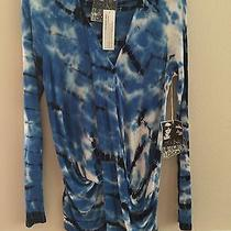 Nwt Young Fabulous & Broke Szs Draped Blouse Long Sleeve Ombe in Royal Blue Photo