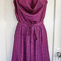Nwt Yumi Deep Pink Navy Blue Pleated Party Dress Sz Us 2/4 Geometric Y1520 Photo