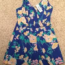 Nwt Yumi Kim Lea Bright Blue Flower Romper Jumpsuit S  Photo