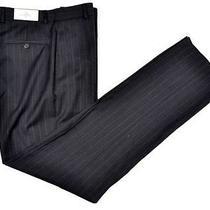 Nwt - Yves Saint Laurent Gray Stripe Wool Flat Front Pants Trousers Mens - 32 Photo