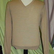 Nwt Yves Saint Laurent Ysl Mens v Neck Khaki Wool Sweater Size S Italy Photo