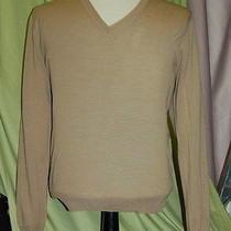 Nwt Yves Saint Laurent Ysl Mens v Neck Khaki Wool Sweater Size S Italy Photo
