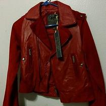 Nwt Zac Posen Leather Moto Jacket Ladies Coat Xs Leather/suede Really Red Rare Photo
