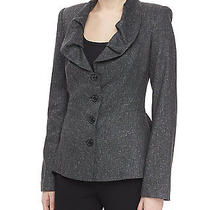 Nwt Zac Posen Ruffle Neck Tweed Jacket Heather Gray Us 6 Msrp 2250.00 Photo