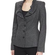 Nwt Zac Posen Ruffle Neck Tweed Jacket Heather Gray Us 6 Msrp 2250.00 Photo