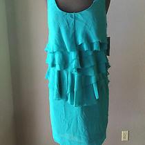 Nwt Zara Basic Medium Dress Blue Aqua Tiered Chiffon Ruffle Photo