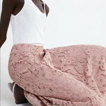 Nwt Zara Blush Pink Lace Midi Skirt - Size Xs Photo
