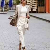 Nwt Zara High-Waist Pareo Pants Trousers With Bow Tie Beige Cream Sz L Photo