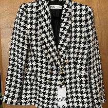 Nwt Zara Houndstooth Tweed Blazer Jacket Gold Buttons Style 7878/520 - Sz L Photo
