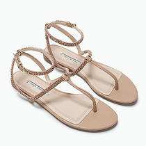 Nwt Zara Jewel Flat Sandal Size Us 7.5 / Eu 38 - 79.90 Retail Photo