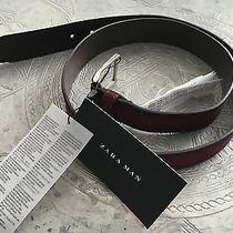 Nwt Zara Man 100% Genuine Cow Leather Belt Size 95 Us38 Mulberry Color Rp-40usd Photo