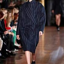 Nwt Zara Navy Blue White Wool Pin Stripe Long Coat Jacket Xs Runway Vogue 2780 Photo