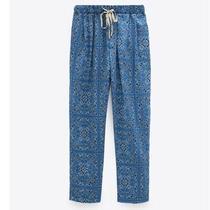 Nwt Zara Printed Drawstring Cropped Pants High Waist Blue Womens Size Xs New Photo