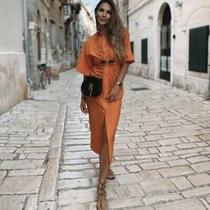 Nwt Zara Ss20 Woman Collared Midi Draped Shirt Dress Orange Size S Ref 7733/457 Photo