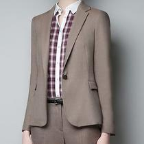Nwt Zara Taupe Brown Long Classic Fit Blazer Padded Structured Jacket Vogue Xs Photo