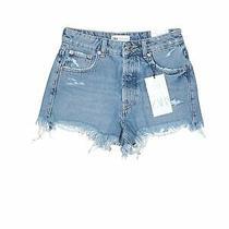 Nwt Zara Women Blue Denim Shorts 0 Photo