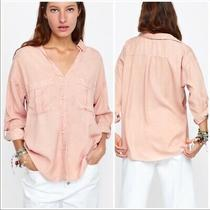 Nwt Zara Women's Blush Tencel Faux Pearl Button Down Roll Tab Sleeve Top Size Xs Photo
