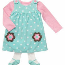 Nwt18 Mon Carters Jumper Dress Shirt Tights Aqua Pink Polka Dots Baby Girl Photo