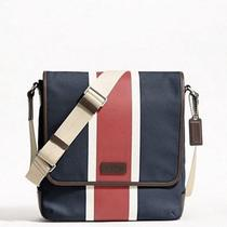 Nwtauthentic Coach Heritage  Canvas Printed Stripe Map Swingpack Crossbody Bag Photo