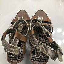 Nwtd Jessica Simpson Buckle Braided Gold Metallic Bronze Wedge Size 9 Shoes Photo