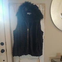 Nwtmarc New York Andrew Marc Women's Black Faux Fur Vest Size 3x Hooded Pockets Photo