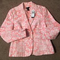 Nwts Grace Elements Ladies Sz 6 Coralfloral  Jaquard Blazer Jacket 118 Ret Photo