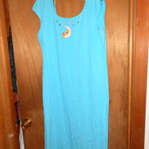 ny& Co Aqua Blue Large Maxi Dress 100% Cotton W/ Tweety Last One Photo