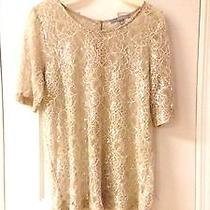 Ny Collection Women's Pale Blush Eyelet Button Down Sheer Top - Sz M  Photo