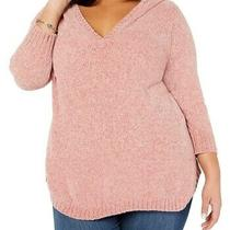 Ny Collection Women's Sweater Blush Pink Size 2x Plus Rib Knit Hoodie 70 086 Photo