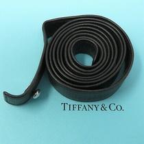 Nyjewel Tiffany & Co 925 Silver Peretti Black Leather Belt Strap Photo