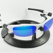 Oakley Flak Jacket Polished White & Black Frame W/ Revant Ice Blue Custom Lenses Photo
