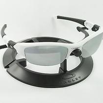 Oakley Flak Jacket Polished White & Black Frame W/ Revant Titanium Custom Lenses Photo