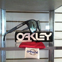 Oakley Frogskins Sunglasses 03-291 Crystal Black Frame/emerald Iridium Lens New Photo