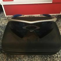 Oakley M-Frame Sunglasses Silver/blue With Case and 5 Extra Lenses Photo
