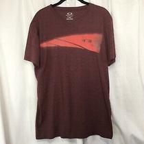 Oakley Mens Lg T-Shirt v-Neck Short Sleeve Light Maroon Orange Logo Photo