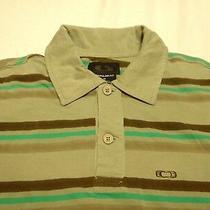 Oakley Polo Men's Sz M Regular Fit Gray Multi-Color Striped Logo on Chest Cotton Photo