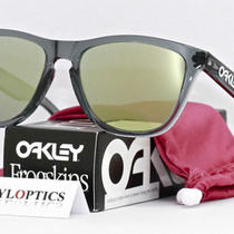 Oakley Sunglasses Frogskins Crystal Black/emerald Iridium 03-291 Photo
