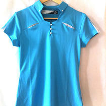 Oakley Women's Tennis Biking Golf Fitness Top/shirt Aqua W/ White Accents Photo