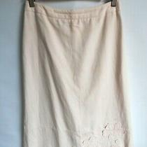 Oasis Blush Pencil Style Skirt With Linen Size 8/34  Photo