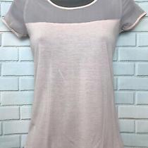 Oasis Xs 6/8 Vgc Pale Pink Blush Mesh Jersey Short Sleeve Blouse Top Photo