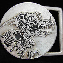 Ob27157 Nos Vintage 1970s Dragon Fantasy Art Pewter Belt Buckle Photo
