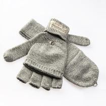 Obey Draft Winter Fingerless Gloves / Mittens - Heather Grey Photo