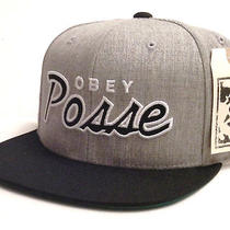 Obey Posse Snapback Hat Heather Gray/grey Black Flat-Bill Script Cap New Nwt Vtg Photo