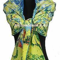Oblong Handmade 100% Pure Silk Art Scarf Wrap W/ Van Gogh
