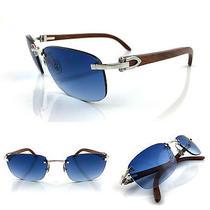 Occhiali Cartier Paglia Bubinga Wood Vintage Sunglasses Platinum Plated  Photo
