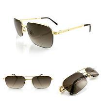 Occhiali Cartier Santos Titane Rectangle T8100934 Sunglasses 18kt Gold Plated  Photo