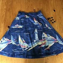 Odille Anthropologie Blue Nautical a-Line Skirt Sailboats Lighthouse Size 0 Photo
