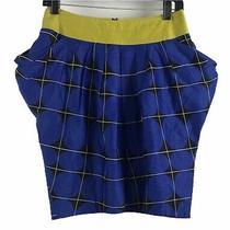Odille Anthropologie Geometric 80s Style Blue Yellow  Black Skirt Size 2 Photo