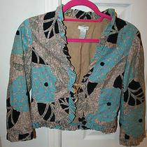 Odille Anthropologie Tan Teal Black Jacket Blazer Corduroy 4 Floral Ruffles Photo